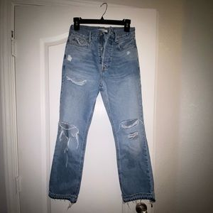 Forever 21  Distressed Straight Leg Jeans